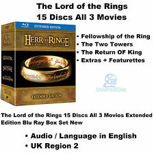 The Lord of the Rings 15 Discs All 3 Movies Extended Edition Blu Ray Box Set New
