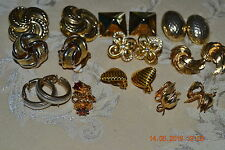 Lot of 10 Pairs of Gold Plated Vintage Clip-on Earrings Unsigned