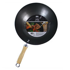 "Non Stick Carbon Steel Wok 11"" / 28cm Diameter for Chinese Cooking & Frying"