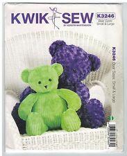 NEW! Soft Toy Bear Large & Small Kwik Sew K3246 sewing pattern FREE AUST POST!
