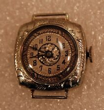Estate Ladies 14K WG Watch Case with Hand Carved Silver Face H