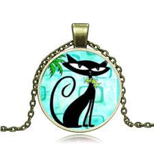 Hot Vintage Cabochon Bronze Glass Cat Charm Pendant Necklace #14