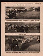 WWI  Poilus Treillis Cavalerie Chevaux Artillerie Champagne 1915 ILLUSTRATION