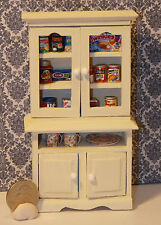 Dollhouse Miniature Kitchen Cabinet with food & dishes 1:12  One Inch Scale