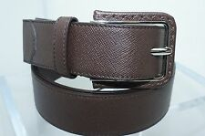 Prada Men's Brown Belt Cinture Signature Buckle Size 42 105 Leather NWT