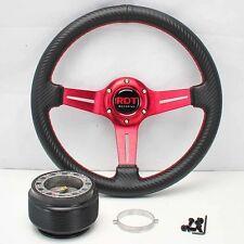 """RED 13"""" RACING STEERING WHEEL+HUB 86-93 CELICA 89-97 COROLLA 90-06 MR2/MRS"""