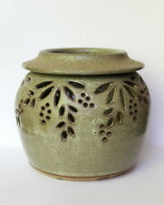 Handmade Gray Green Matte Glaze Berry Leaf Cut Out Pottery Vase Candle Holder