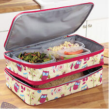 Casserole Dish Carrier Food Tote Compartments Sections Pot Luck Picnic Lunch Owl