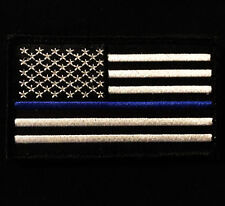 USA AMERICAN  FLAG TACTICAL MORALE BLUE LINE POLICE VELCRO® BRAND FASTENER PATCH