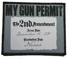MY GUN PERMIT 2ND AMENDMENT RIGHT TO BEAR ARMS USA 2A URBAN MORALE VELCRO PATCH
