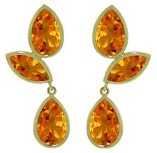 14K. Solid Gold Chandelier Fine earrings w/ Natural Citrine Yellow Gemstone
