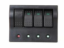 MARINE BOAT RV WATERPROOF 4 GANG SWITCH PANEL LED ROCKER SWITCH CIRCUIT BREAKERS