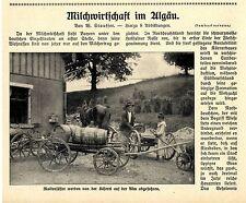 Milchwirtschaft im Allgäu Molkenfässer Milchmessen Käserei Käseherstellung 1913