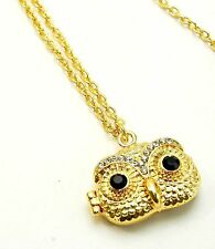 New Gold Tone Crystal Owl Face Locket Pendant Necklace in Gift Box