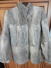 Genuine Rabbit Fur coat Jacket Gray white colors size 40 Med / L see measurement