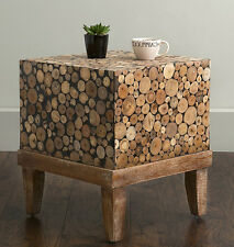 Square Cube Side Table Unique Furniture Design Handmade Teak Wood End Tables