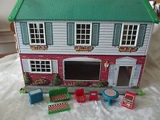 Metal Steel/Tin Vintage Wolverine Dollhouse  With Furniture
