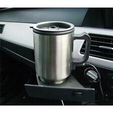 12v AUTO USB STAINLESS STEEL HEATED TRAVEL MUG FLASK WITH CAR & USB CHARGER UK