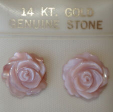14K GOLD ANGEL SKIN CONCHE CARVED FLOWER  SHELL MOTHER OF PEARL STUD EARRINGS B