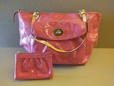 Damaged Large Coach Purse Shoulder Tote Bag Embossed Pink Patent Leather Wallet