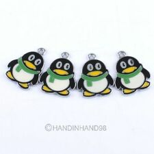 4xEnamel QQ Penguin Alloy Charms Necklace/Bracelet Pendants Jewellery Beads G344