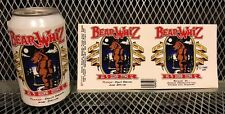BEAR WHIZ BEER ~ VINTAGE 1990 ~ RARE ~ NOS ~ Can Sticker Decal Advertising Sign