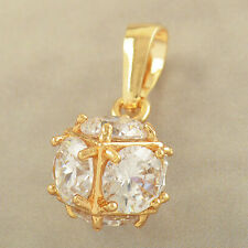 "Sparkling 9K Yellow Gold Plated Mystic Topaz ""Megic Ball"" Pendant Fit Long Chain"