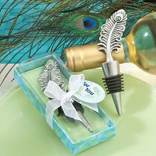 Peacock Feather Wine Stopper Wedding Favor Reception Party Barware Bottle Drink
