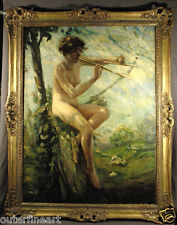"19th Century Nude Woman ""Pastoral""  Lillian Genth Oil Painting (AMERICAN)"