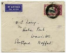 STRAITS SETTLEMENTS 1935 JUBILEE 25c SOLO AIR to SCOTLAND