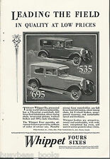 1928 WILLYS WHIPPET advertisement, Willys Overland, Coach & Six Coach