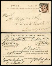 RAILWAY GB QV STATIONERY 1887 LONDON + NORTH WESTERN...LIVERPOOL SQ.CIRCLE C7