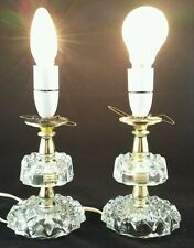 A Pair Of Vintage Table Lamps with Pressed Glass and Gold Stems 50s 60s Working