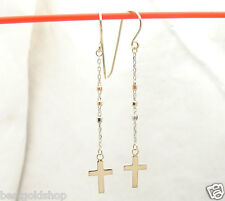 Diamond Cut Rosary Cross Dangle Drop Earrings Real Solid 14K TriColor Gold 1.2gr