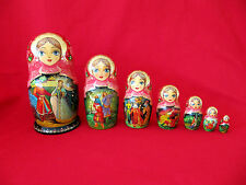 "Matryoshka Nesting Dolls~RED & GOLD Fairy Tale~8"" tall~7 Pieces"