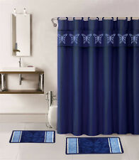 15PC NAVY BLUE BUTTERFLY BATHROOM SET BATH MATS SHOWER CURTAIN FABRIC HOOKS