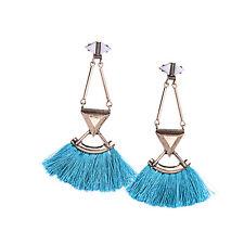 Boucles d`Oreilles Clous Doré Art Deco Triangle Pompon Tissu Bleu Ethnique XX 15