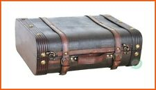 Retro Decorative Storage Suitcases Vintage Trunk Leather Antique Decor Luggage