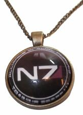 "Mass Effect N7 SPECIAL FORCES Logo GLASS DOME Pendant Necklace with 20"" Chain"