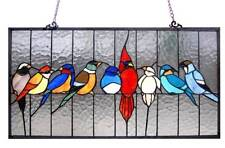 """Tiffany Style Stained Glass Family Of Birds Window Panel 24.5 X 13"""" Handcrafted"""