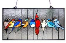 "Stained Glass Chloe Lighting Family Of Birds Window Panel 24.5 X 13"" Handcrafted"