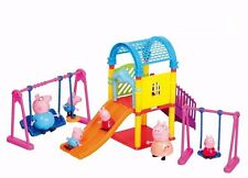 Peppa Pig Amusement Park Playground Playset Toy Set with 4 Pcs Peppa Pig Family