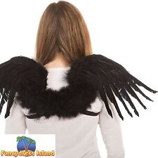 BLACK FEATHER ANGEL GOTHIC FAIRYTALE WINGS - womens ladies fancy dress accessory