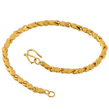 Classic Womens Wrist Luxury 14K Real Gold Filled Lucky Snake Rope Chain Bracelet