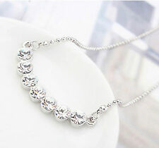 AUSTRIAN CRYSTAL ROUND DIAMONDS BRIDGE NECKLACE EARRING SET KP19 4 COLOURS