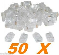 50 X RJ45 PLUG NETWORK CAT5 LAN CONNECTOR MODULAR CAT 5 5E 6 ETHERNET END LAN
