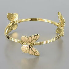 Gold Bangle Cream Color Butterfly Spring Theme Charm Bracelet
