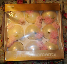 Shabby Chic Ornaments Pink Roses Victorian Christmas Ornaments White Pearl Rose