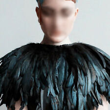 Stylish Hand Made Black Feather Cape Shawl Scarf Wedding Party Dress Costume