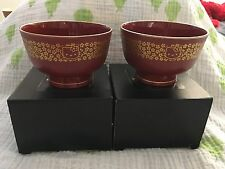 Hello Kitty Sanrio Vintage Set Of 2 Soup Rice Bowls Gold Trim 2000 Rare Japan